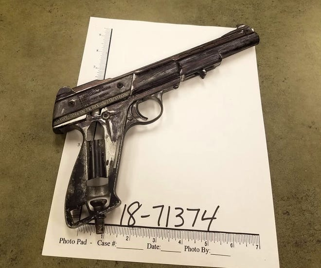 Redding police say local parolee Anthony Parks waved this imitation firearm at passing motorists on Pine Street near Safeway on Wednesday. Parks was arrested on suspicion of brandishing a fake gun and violating parole.