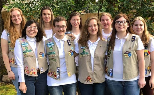 Members of Salem Girl Scout Troop 10231. Back row, left to right:  Madeleine O'Donnell, Elaine Sept, Caroline Nettleton, Claire Warncke and  Irena Preppernau. Front row, left to right: Olivia Pereyra, Meglacey Hirschfelder, Katherine Gage and Karoline Herkamp.