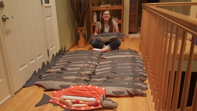 Karoline Herkamp made 25 new-and-improved cloth dissection fish for the ODFW's Salmon and Trout Enhancement Program. The fish will be used as educational tools in classrooms across the state.
