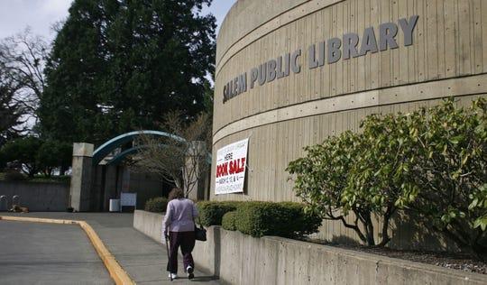 An exterior view of Salem Public Library in Salem, Oregon.