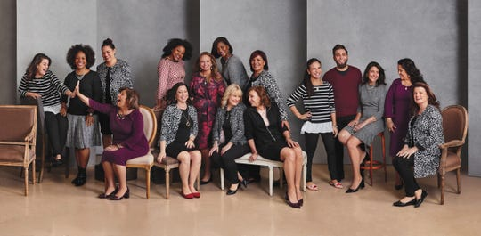 Aisha Best (in the red and white dress, back row) is a Salinas High graduate who is being featured in Avon's campaign.