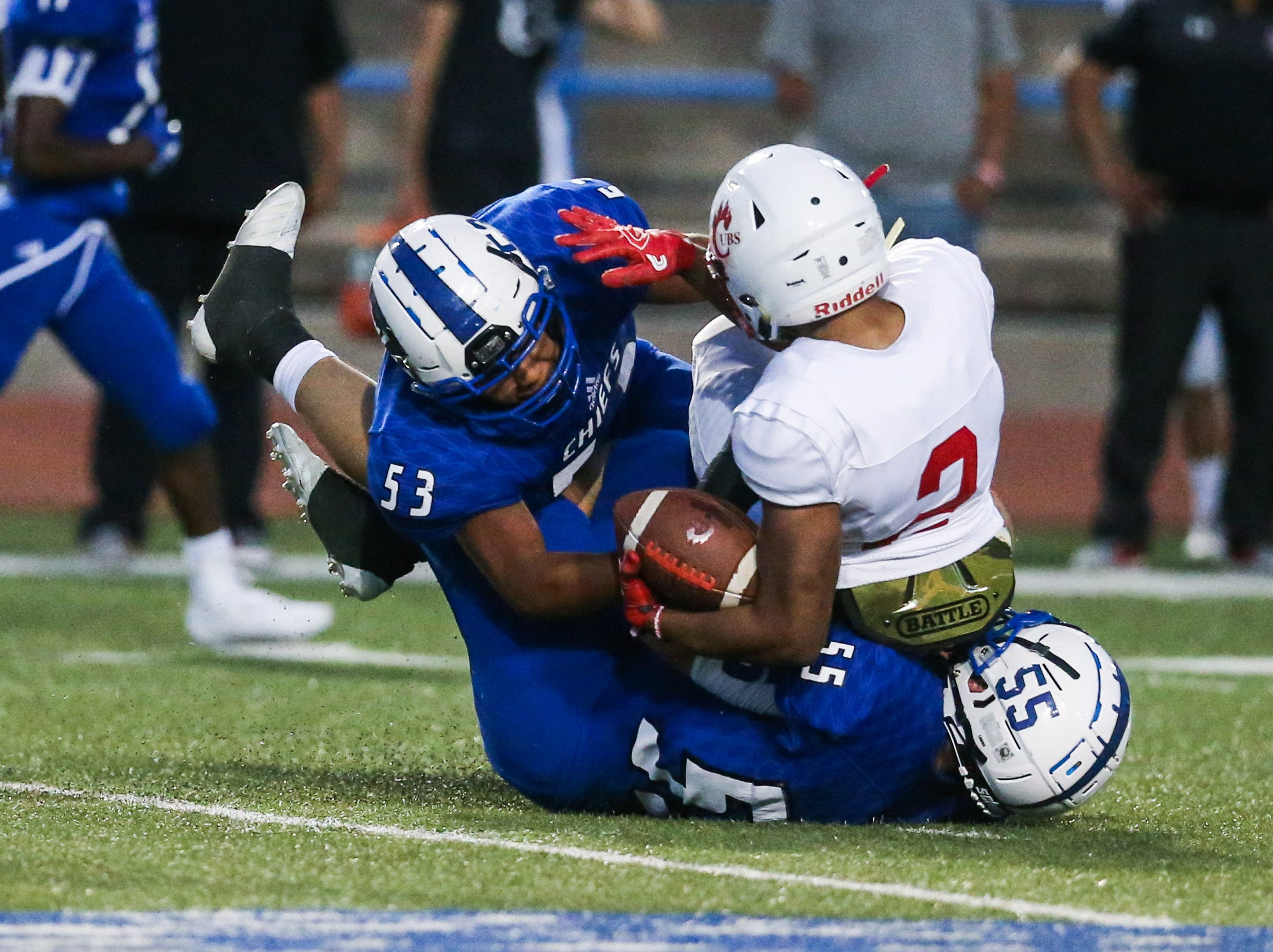 Lake View defense tackle Brownfield ball carrier Thursday, Oct. 4, 2018, at San Angelo Stadium.