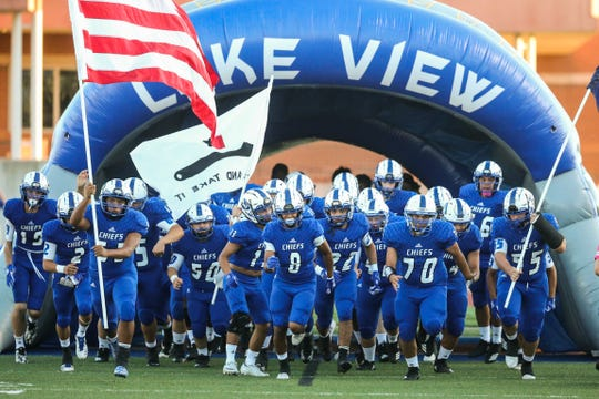 Lake View players enter the field for the game against Brownfield Thursday, Oct. 4, 2018, at San Angelo Stadium.