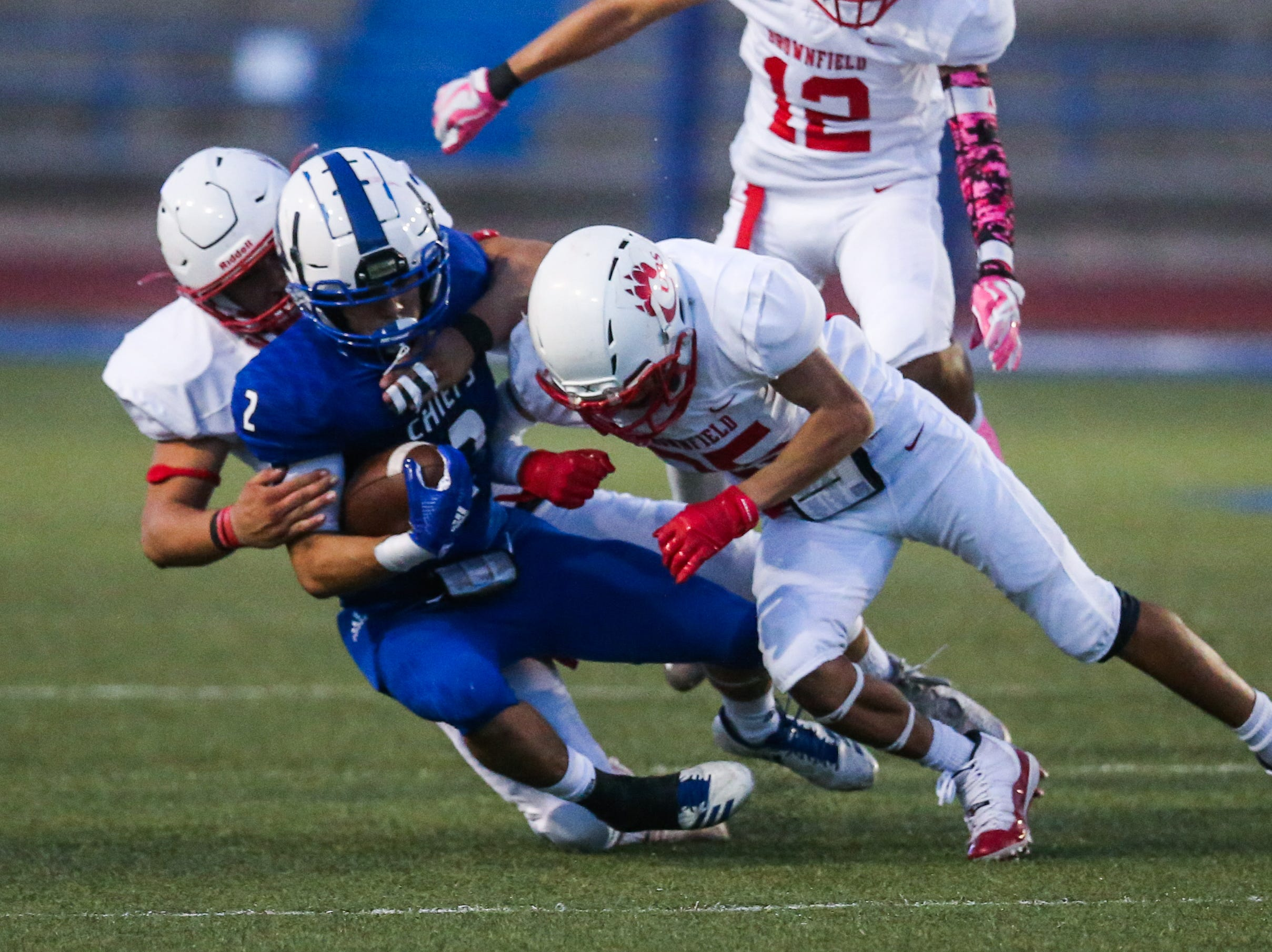 Lake View's Adrian Villa is tackled by Brownfield Thursday, Oct. 4, 2018, at San Angelo Stadium.