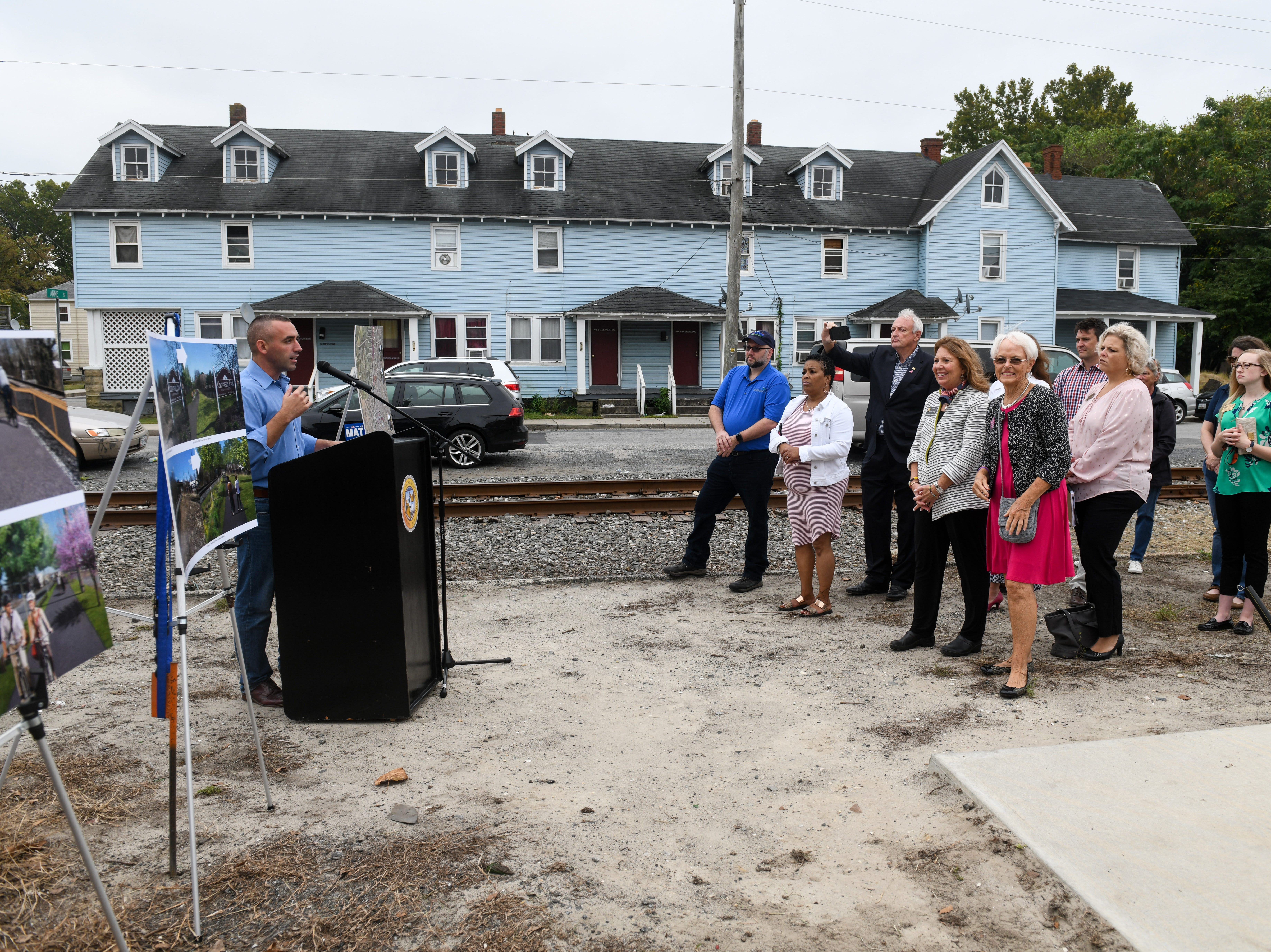 Salisbury mayor Jake Day announces a new grant on Friday, Oct 5, 2018 for a railroad bike path that when complete will run from Fruitland to Delmar.