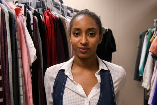 Professional clothes hang at Salisbury University as part of a project to help prepare students for job interviews by Tasheem Elbashir, SGA director of marketing and communications, on Thursday, Oct 4, 2018.