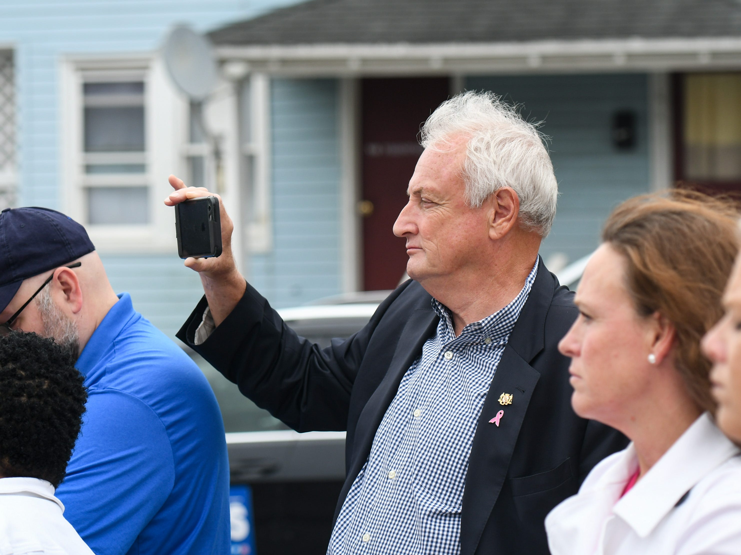 State Sen. Jim Mathais watches as mayor Jake Day announced a new grant for a railroad bike path on on Friday, Oct 5, 2018.