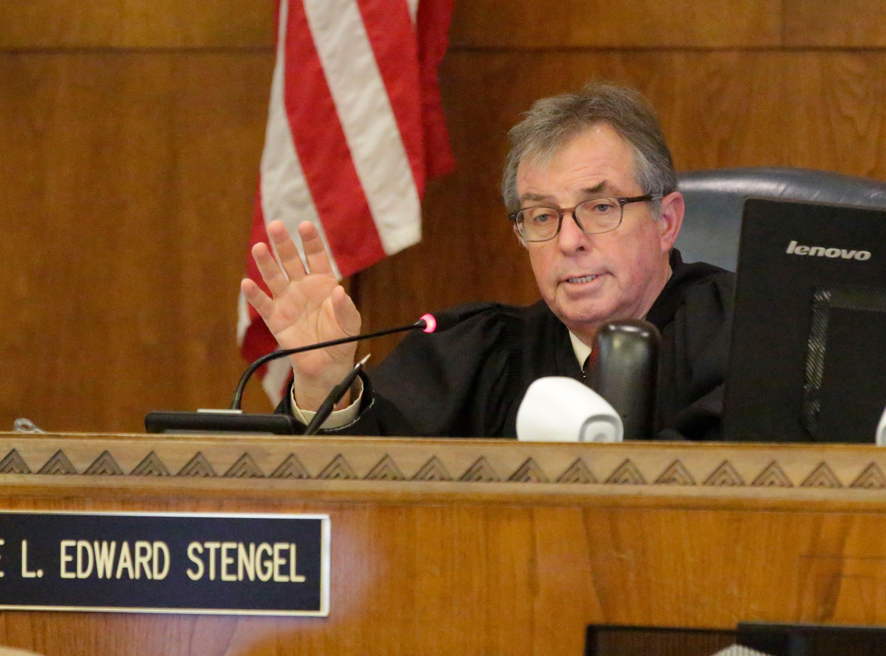 Judge L. Edward Stengel talks during the sentencing hearing for Christy Rose Tuchel, Friday, October 5, 2018, in Sheboygan, Wis.