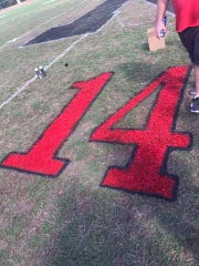 Les Mason's old number painted on North Caddo's field for their homecoming game Friday.