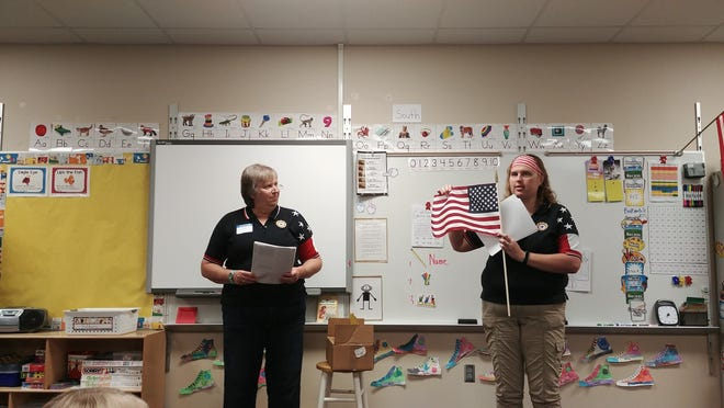 Gloria and Noelle Bonjour gave a presentation on the American flag at the Valley Springs 1st grade class on Sept. 12.