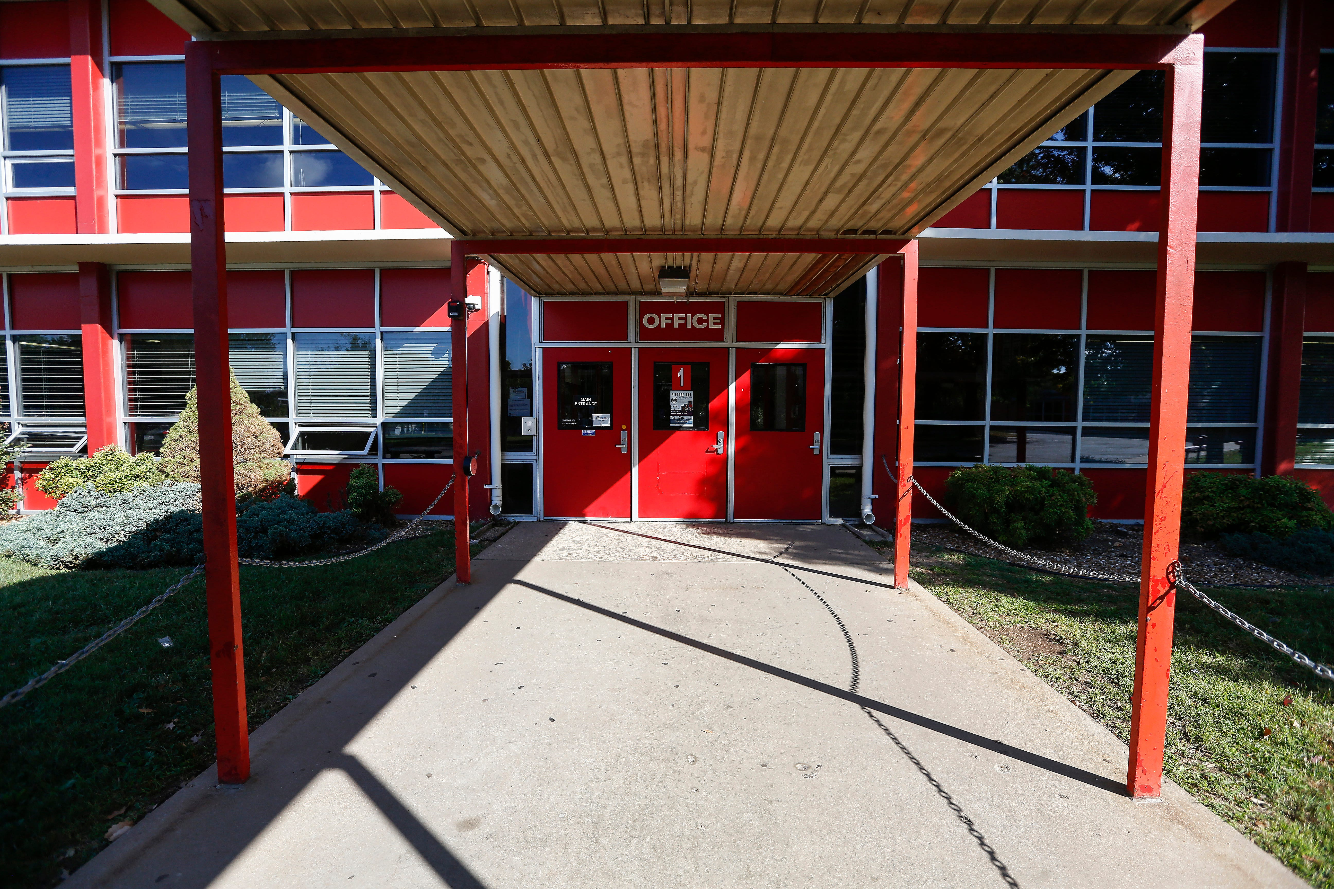 The entrance to the main office at Pershing Middle School.