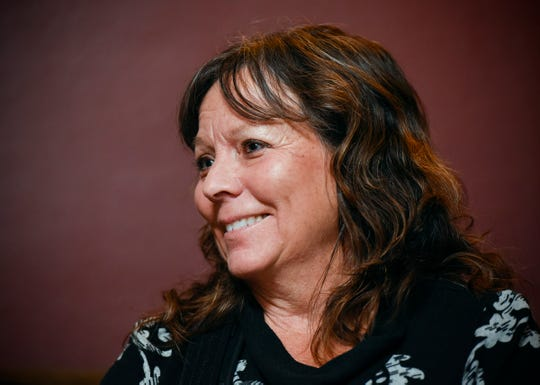 Susan Egbers smiles and glows as she talks about her husband John Thursday, Oct. 4, at her home in St. Cloud. John was hit by a car and killed in Kansas while riding the 4,300-mile Trans Am Bike Race from Oregon to Virginia.