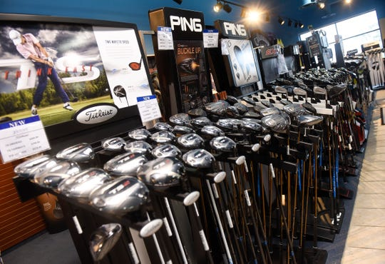 Many brands and styles of golf clubs are on display at Austad's Golf Friday, Oct. 5, in St. Cloud.