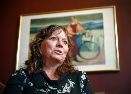 Susan Egbers talks about her husband John Thursday, Oct. 4, at her home in St. Cloud. John was hit by a car and killed in Kansas while riding the 4,300-mile Trans Am Bike Race from Oregon to Virginia.