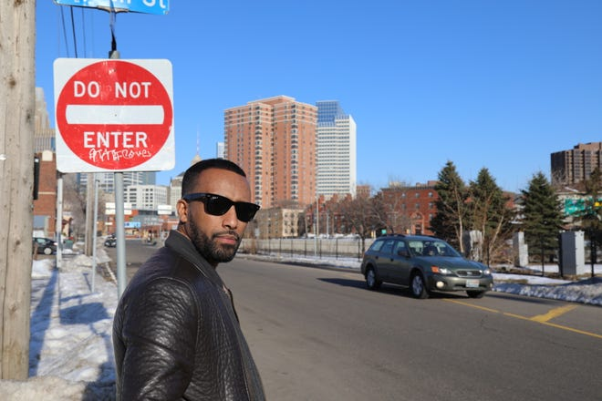 Aar Maanta stops in downtown Minneapolis, where he had a musical residency at the Cedar Cultural Center before touring Minnesota with his band. Maanta writes and performs Somali-language music.