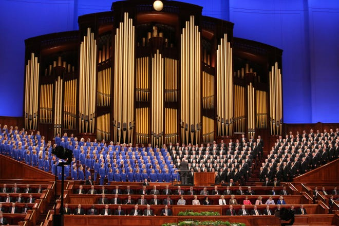 The Mormon Tabernacle Choir performs during the twice-annual conference of The Church of Jesus Christ of Latter-day Saints, in Salt Lake City in April 2018.