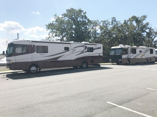 The designated area for RVs are during homecoming is the lot at the FAMU Village Suites.