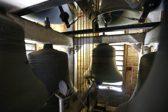 The St. John's Tower Bells can be seen here from their chamber high above the church. There will be a bells concert on Tuesday.