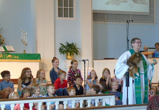 Pastor Kandace Brooks brought her dog Hammie to share about the Blessing of the Animals at Saint Paul's UMC.