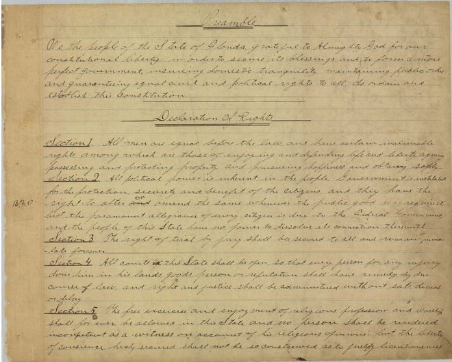 This is the first page – page 1 of 58 – of Florida's Constitution of 1885.