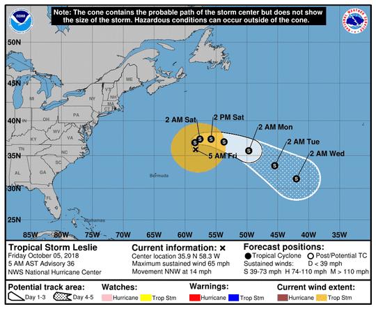 Tropical Storm Leslie 5 a.m. Oct. 5, 2018