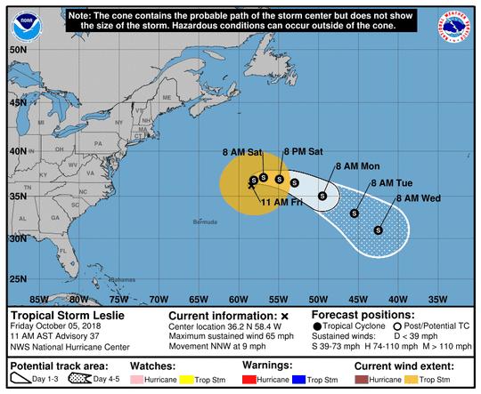 Tropical Storm Leslie 11 a.m. Oct. 5, 2018