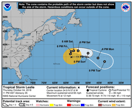 Projected path of Tropical Storm Leslie as of 11 p.m. Thursday, Oct. 4, 2018.