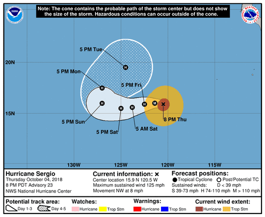 Projected path of Hurricane Sergio as of 11 p.m. Thursday, Oct. 4, 2018.