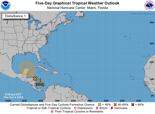 An area of low pressure near Honduras and Nicaragua has a 50 percent chance of developing over the next five days as of 8 p.m. Thursday, Oct. 4, 2018.