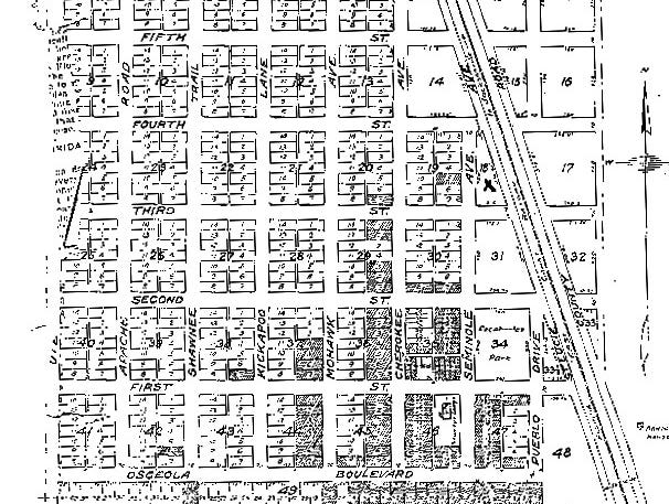 A proposed 1913 plat map of the Town of Vero.