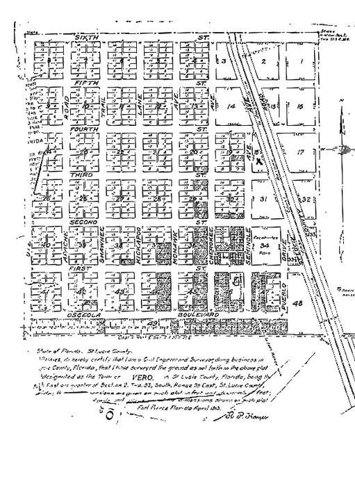 1913 Vero Plat map
