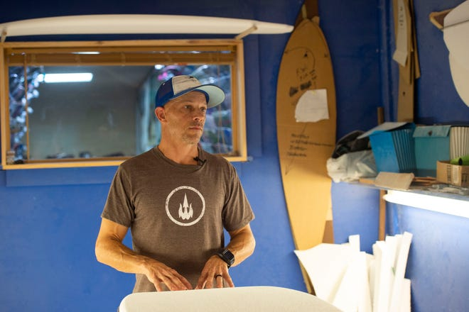 """I feel politics is a big industry,"" said Waterboyz owner Sean Fell, 51, of Gulf Breeze, from a surfboard shaping room at his nearly 30-year-old business on Sept. 11, 2018 in Pensacola. ""I just try and go about my business and treat people right and do the right thing. Hopefully we get good people and they can lead us a on a civic level. Somebody's gotta do it,"" he said."