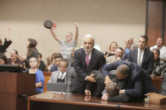 Daniel Villegas reacts after the verdict in his capital murder trial was read.