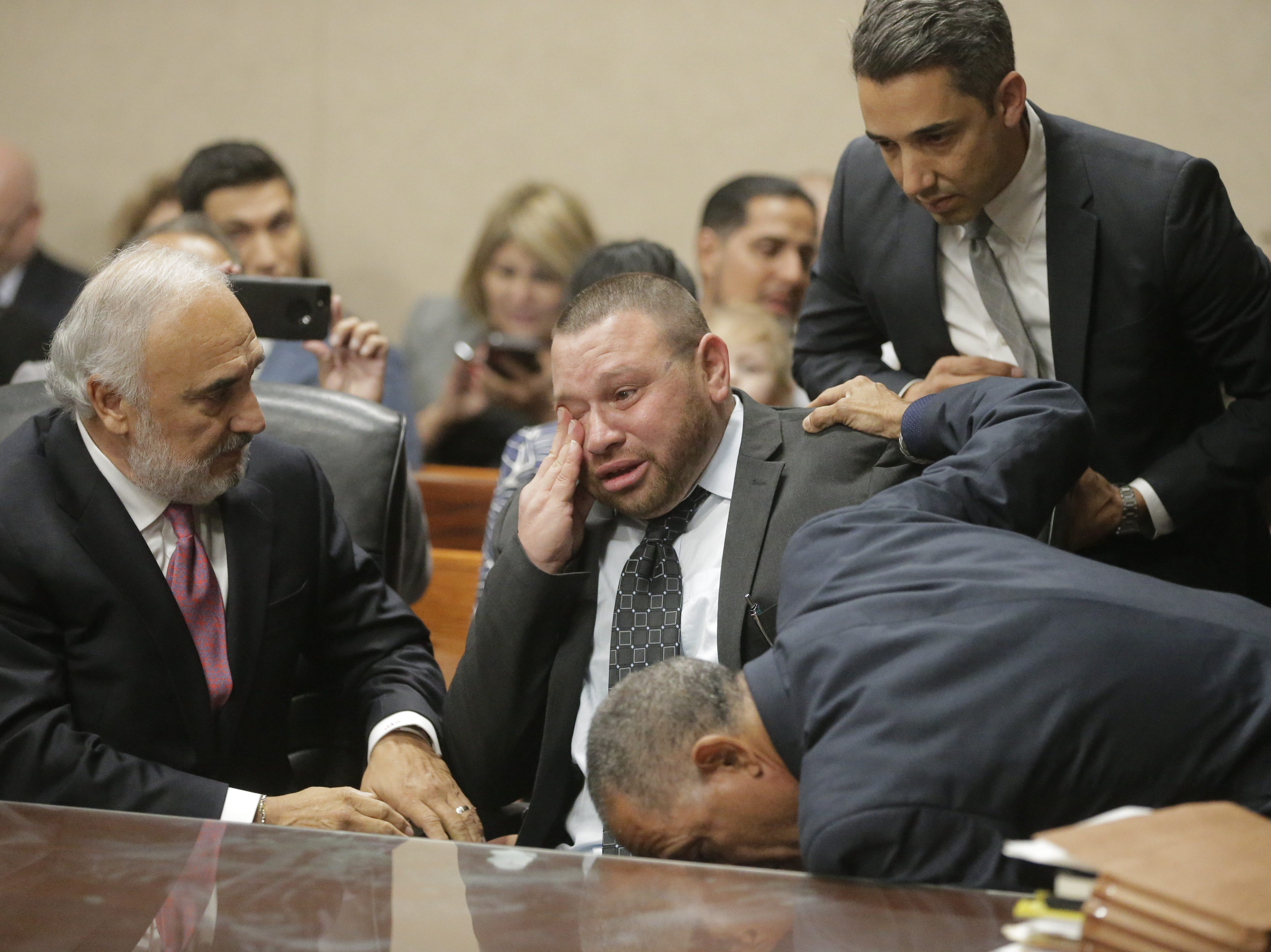 Not guilty: Daniel Villegas reacts after the verdict is ready in his third capital murder trial.