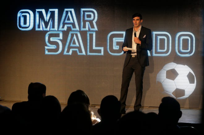 El Paso Locomotive FC player, El Paso's own Omar Salgado was one of several speakers that addressed the large crowd on hand at the EPIC Railyard Event Center, to hear the announcement of the teams new name. The El Paso Locomotives FC, rolled out as the new professional soccer team name.