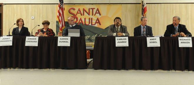 From left, Jenny Crosswhite, Ginger Gherardi, Aaron Dunkel, Carlos Juarez, Andy Sobel and Richard Araiza, the six  candidates for three seats on the Santa Paula City Council, prepare to debate issues.