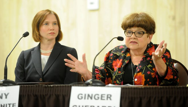 Incumbents Jenny Crosswhite, left, and Ginger Gherardi discuss issues facing the Santa Paula City Council. The forum was put on by the League of Women Voters and co-sponsored by the Santa Paula Chamber of Commerce. Crosswhite was re-elected on Tuesday; Gherardi was not.