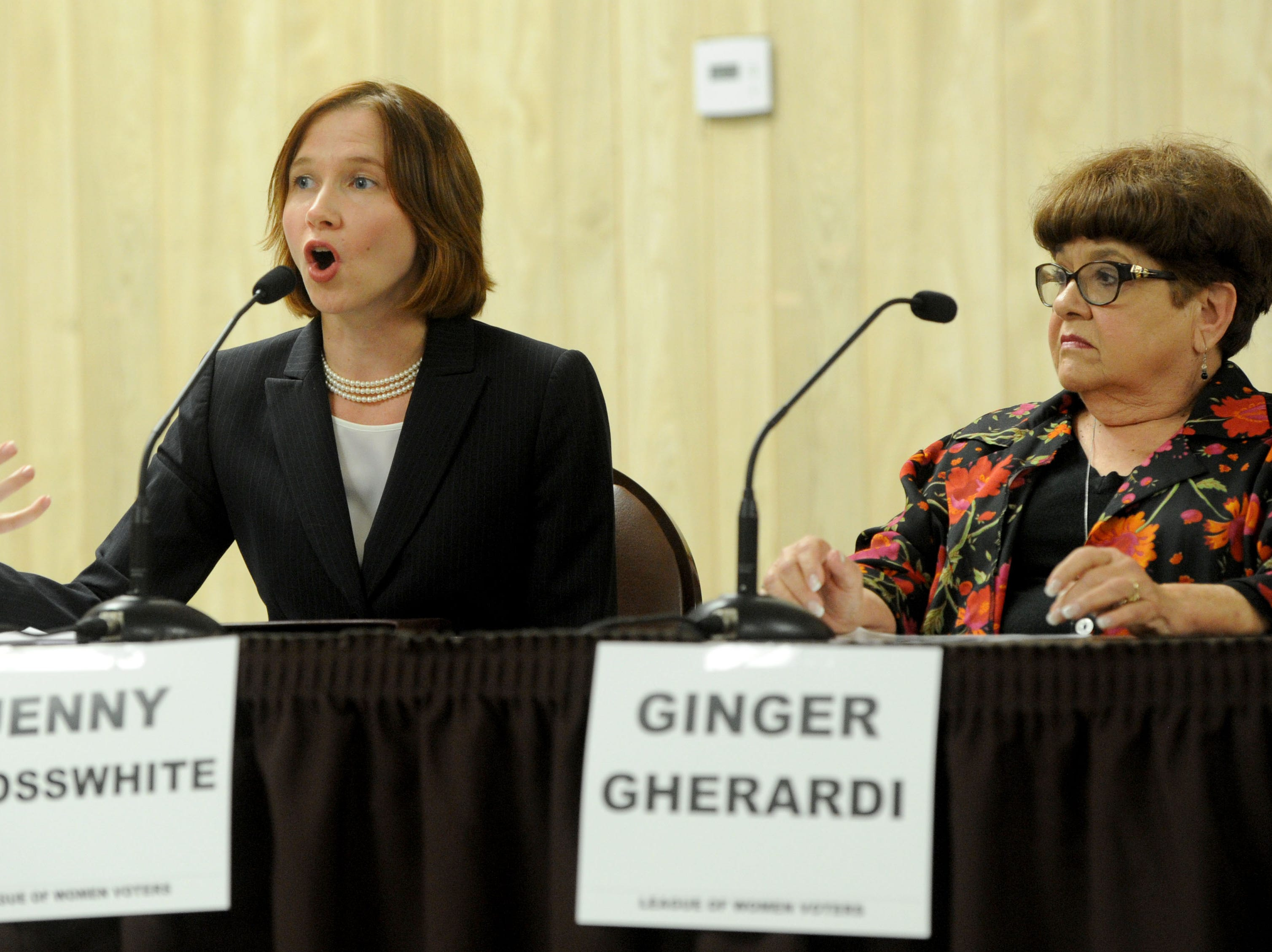 Jenny Crosswhite (left) and Ginger Gherardi (right) answer a question about fixing the streets at the debate for Santa Paula city council at the Santa Paula Community Center and Senior Center. The Forum was put on by the League of Women Voters and co-sponsored by the Santa Paula Chamber of Commerce.