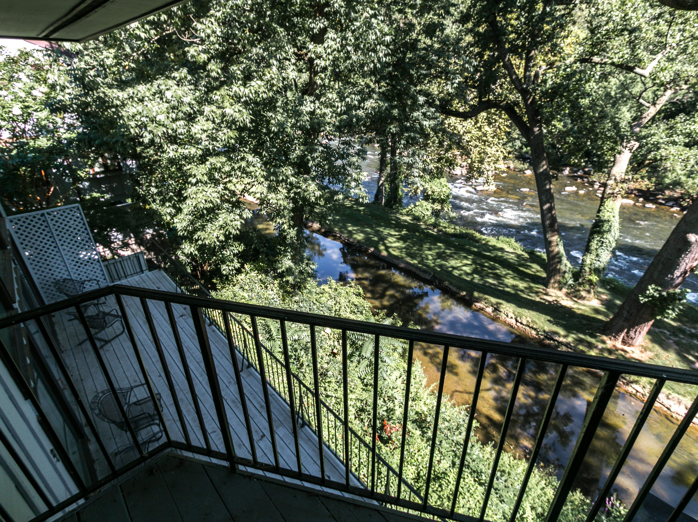 The balcony from the master bedroom overlooks the one outside the lilving room at 7 Brandywine Falls in Wilmington.