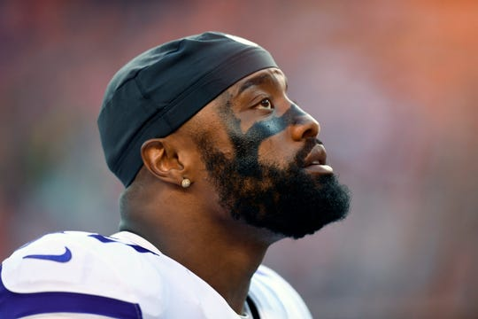 FILE - In this Saturday, Aug. 11, 2018, file photo, Minnesota Vikings defensive end Everson Griffen watches during the first half of an NFL football game against the Denver Broncos, in Denver. Griffen has been sidelined indefinitely by an undisclosed situation that has caused concern within the organization about his well-being. (AP Photo/Mark Reis, File)