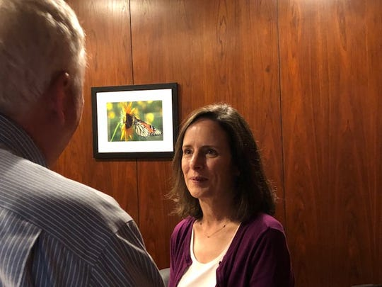 Elizabeth Yeager speaks Friday with Times Record News Editorial Board member Dave Hartman. Yeager is running for reelection to an at-large position with the Wichita Falls Independent School Board of Trustees.