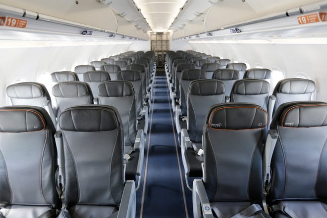 This file photo from March 16, 2017, shows the interior of a commercial airliner at John F. Kennedy International Airport in New York.