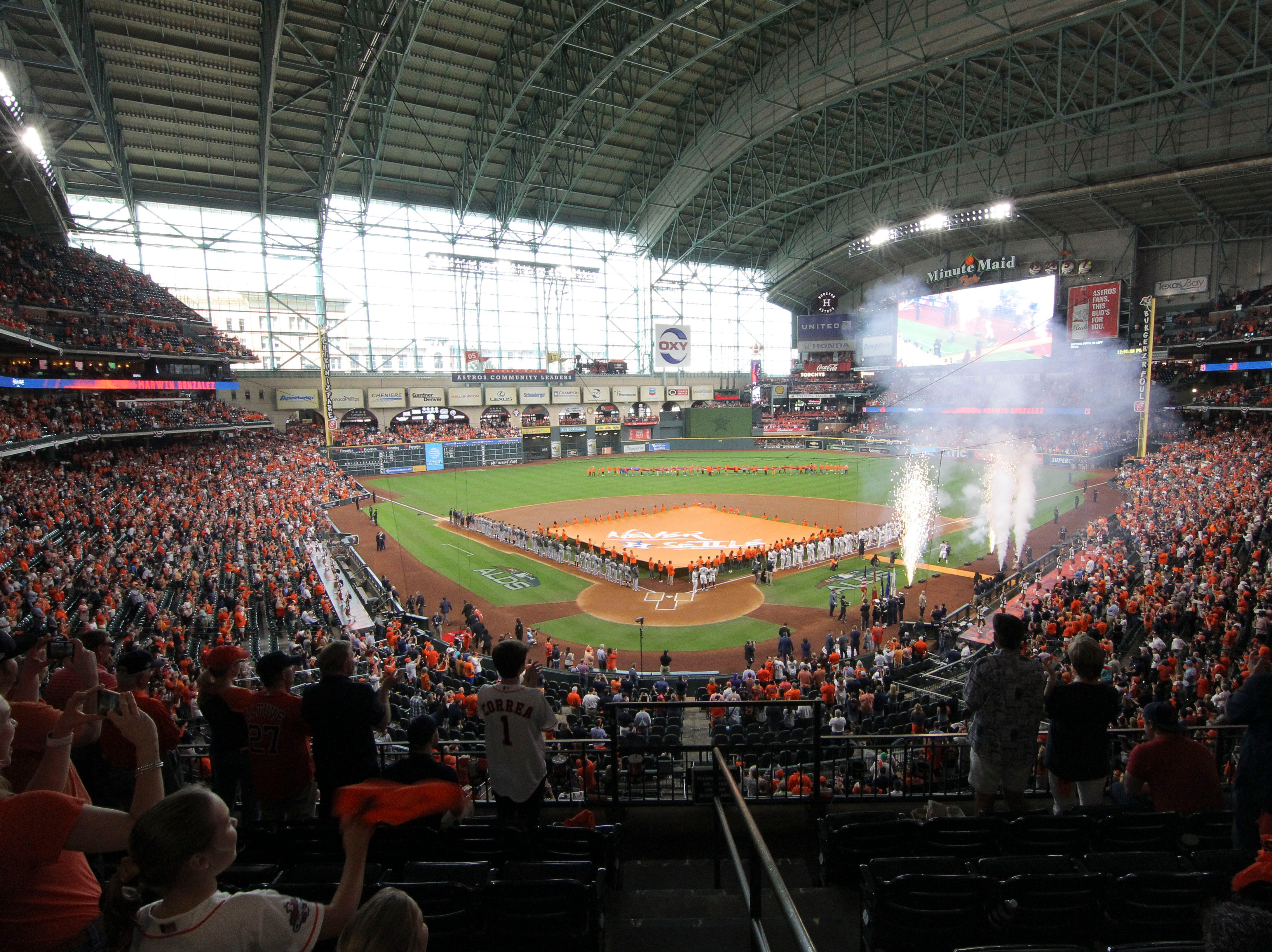 ALDS Game 1: The teams line up before the game at Minute Maid Park.