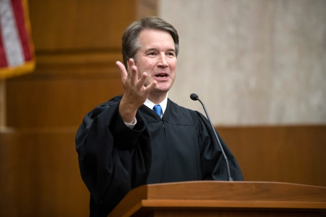 Federal appeals court Judge Brett Kavanaugh officiated in August at the swearing-in of Judge Britt Grant to take a seat on the U.S. Court of Appeals for the Eleventh Circuit.