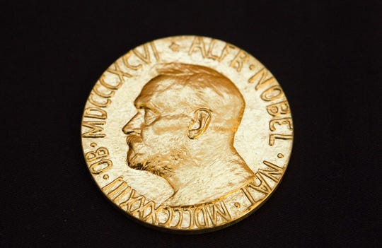 This file picture taken on December 10, 2010, shows the front of the Nobel medal awarded to the Nobel Peace Prize laureate for 2010, Chinese dissident Liu Xiabo.