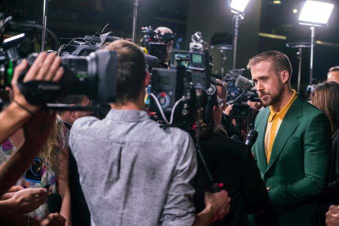 """Ryan Gosling attends the """"First Man"""" premiere at the National Air and Space Museum of the Smithsonian Institution on Thursday, October 4, 2018, in Washington. (Photo by Charles Sykes/Invision/AP) ORG XMIT: NYCS116"""