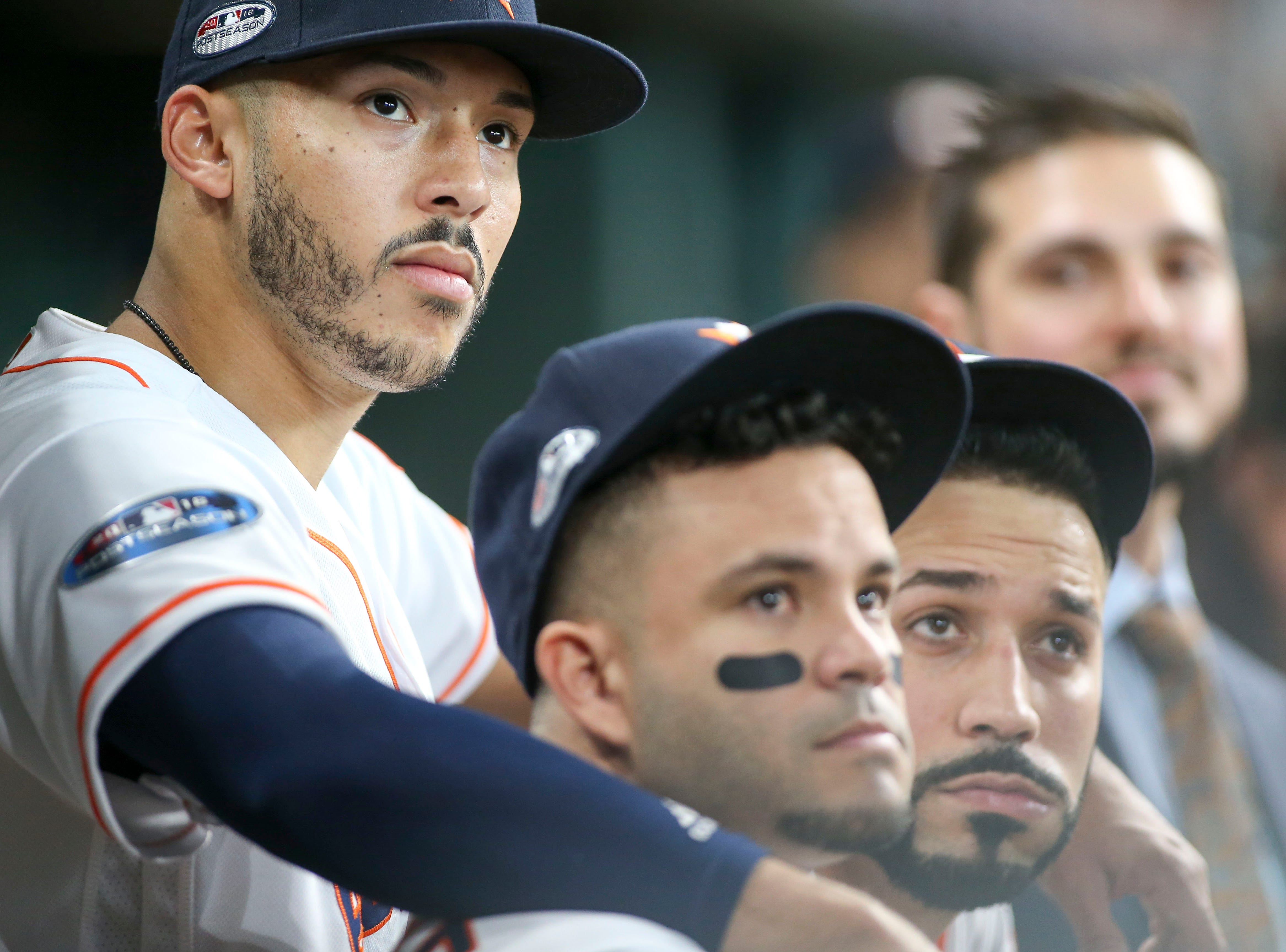 ALDS Game 1: Astros shortstop Carlos Correa with Jose Altuve and Marwin Gonzalez before the game.