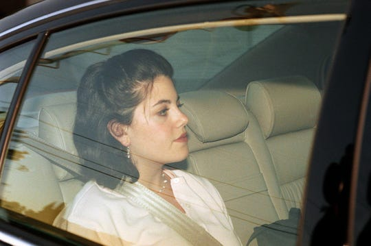 Former White House intern Monica Lewinsky leaves the family home in the Brentwood section of Los Angeles in May 1998.