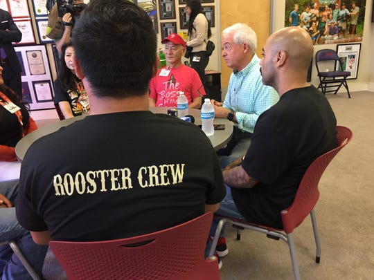 John Cox, Republican candidate for governor of California, meets with workers at Huy Fong Foods in Irwindale, Calif.