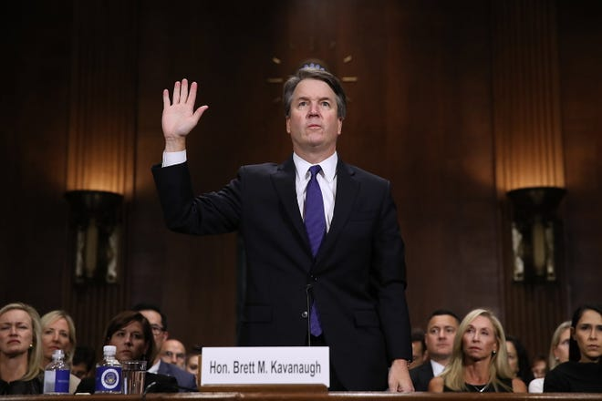 Judge Brett Kavanaugh is sworn in before testifying before the Senate Judiciary Committee on Sept. 27. The procedural vote on the Kavanaugh nomination is scheduled for Friday at 10:30 a.m. EDT.